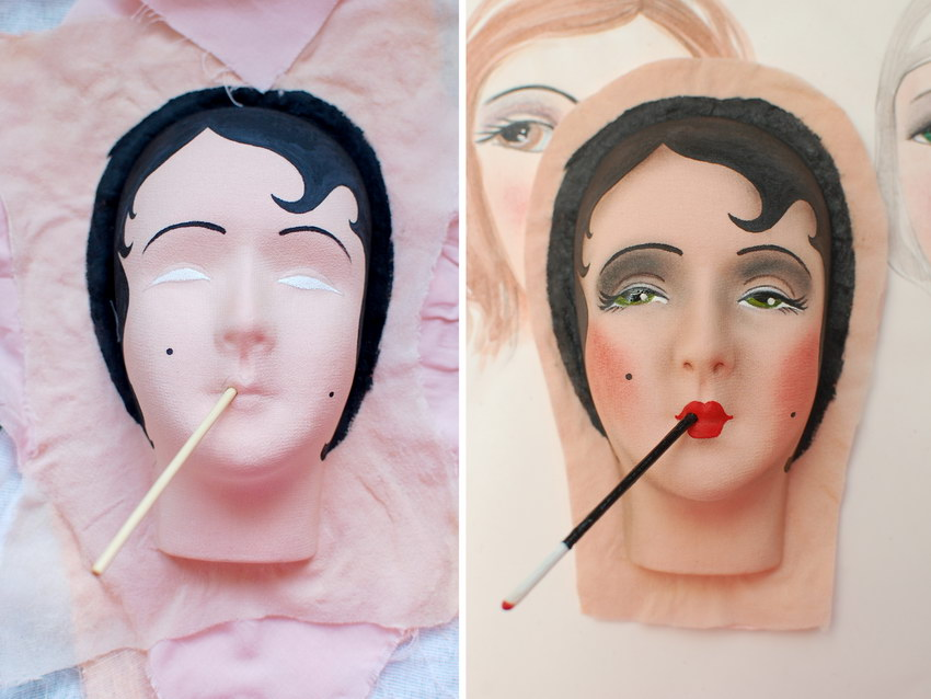 объемное лицо текстильной куклы