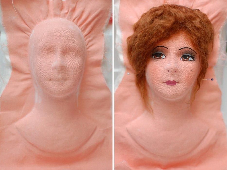 фотография головы авторской будуарной куклы