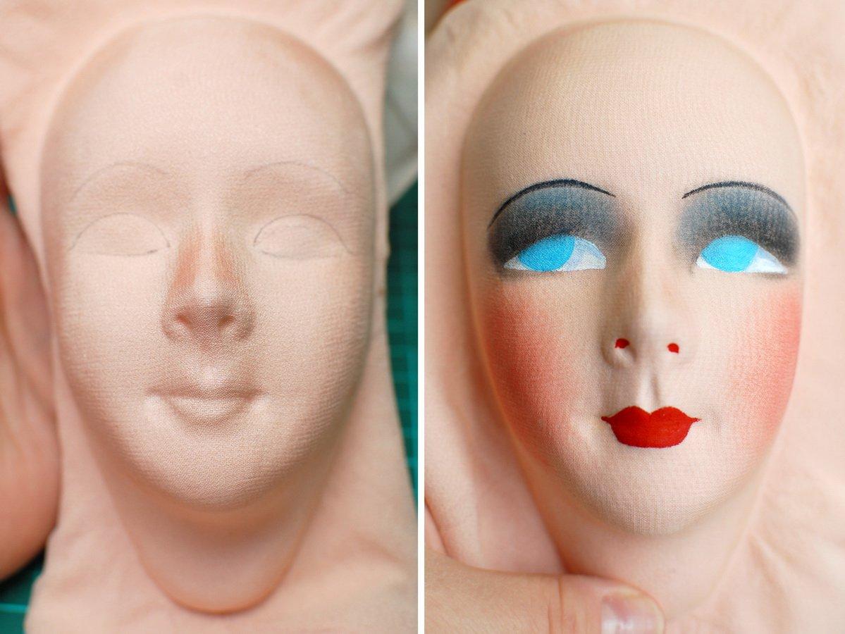 мк роспись лица авторской будуарной куклы