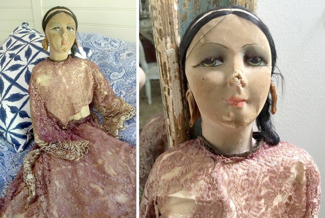 стариная антикварная будуарная кукла