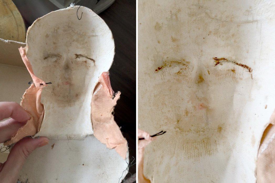 изнаночная сторона прессованной кукольной головы