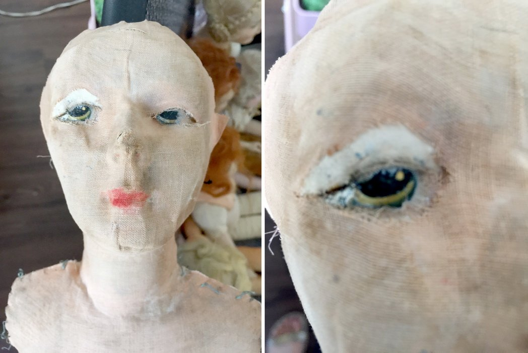 реставрация головы будуарной куклы