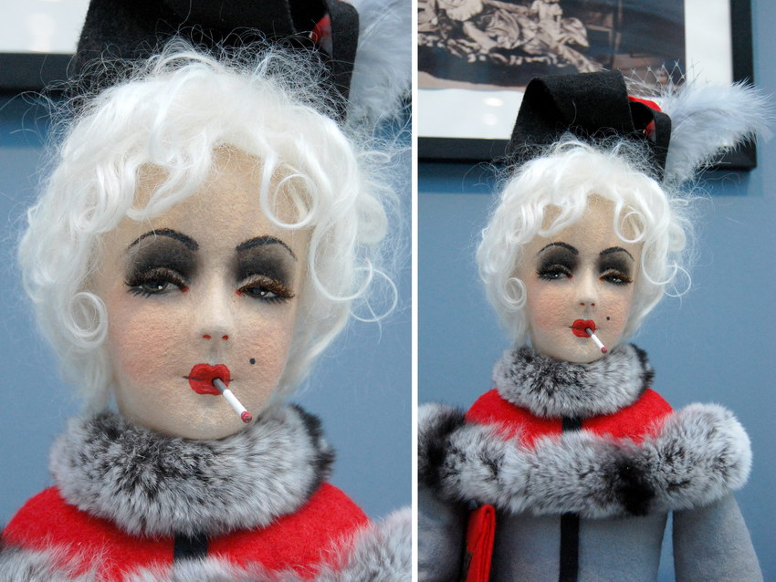 авторская будуарная кукла с сигаретой