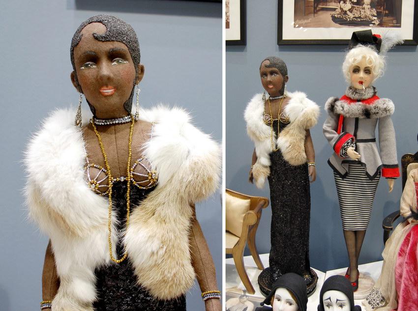 чернокожая будуарная кукла из фетра