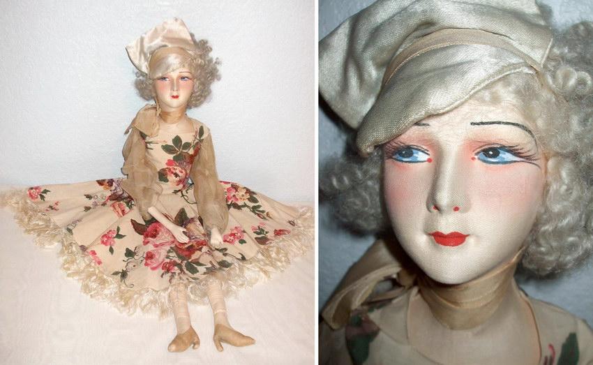 будуарная кукла с текстильным лицом