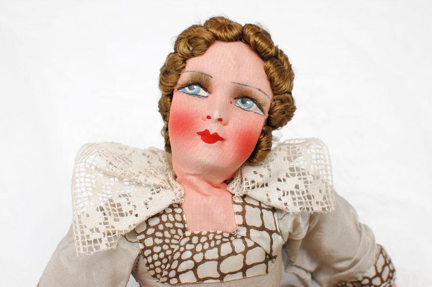 будуарная кукла с текстильной головой