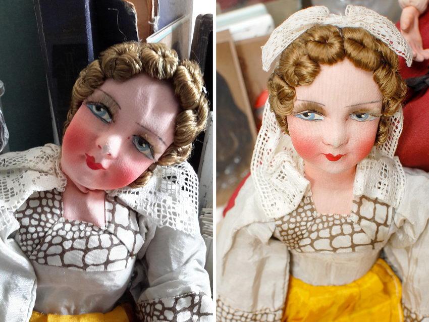 будуарная кукла до и после ремонта
