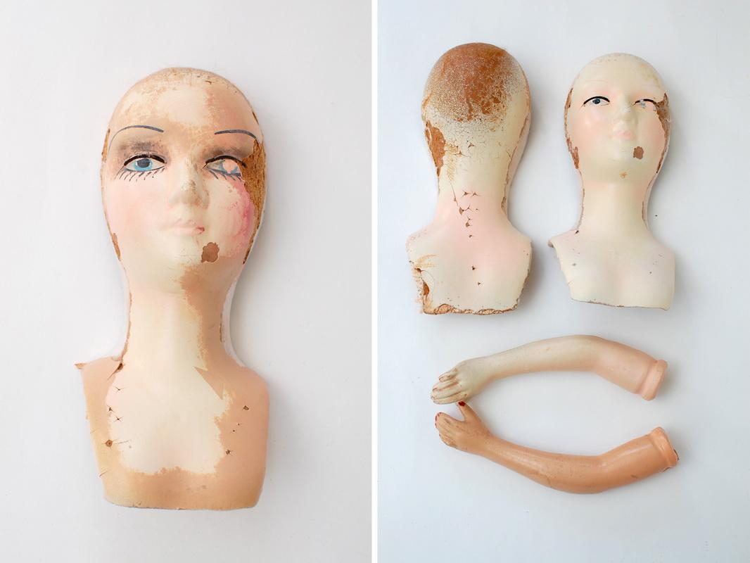 разобранная голова будуарной куклы из прессопилок